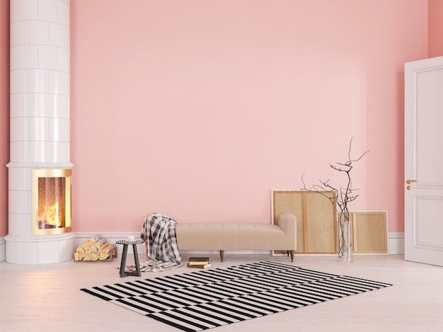 Roze scandinavisch, klassiek interieur met bank, kachel, open haard, tapijt. 3d render illustratie mock up.