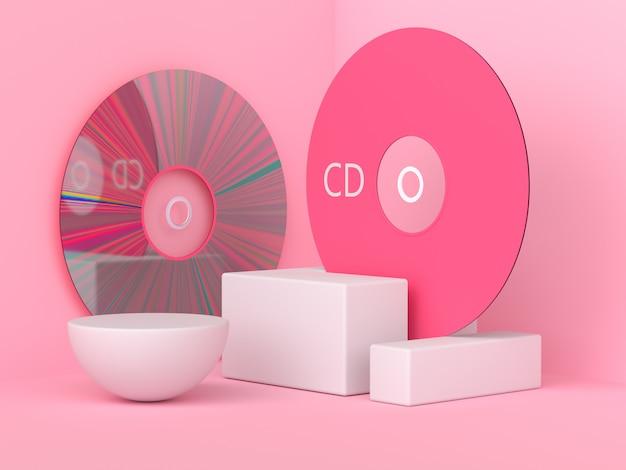 Roze scène 3d-rendering cd / dvd cirkel schijf