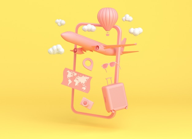 Roze smartphone met reisobjecten: vliegtuig, luchtballon, kaart, zonnebril, camera en tas op gele achtergrond. 3d-rendering