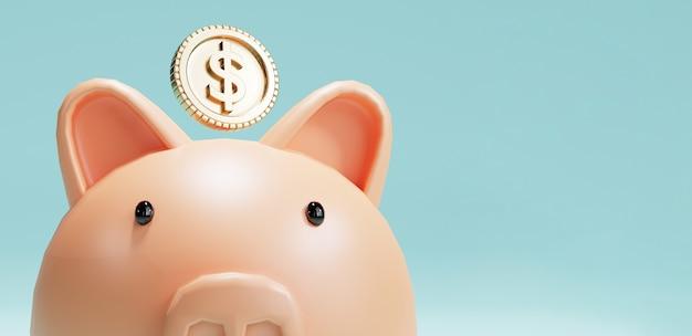 Roze spaarvarken en amerikaanse dollarmunten die op blauwe achtergrond vallen voor geldbesparing en stortingsconcept, creatieve ideeën door 3d-renderingtechniek.