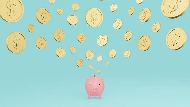 Roze spaarvarken en dalende gouden munten met dollarteken met cyaan achtergrond. 3d render illustratie