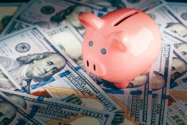 Roze spaarvarken en dollars