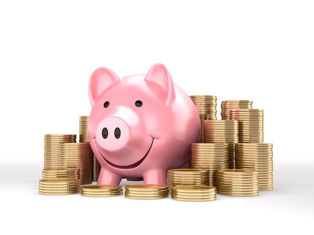 Roze spaarvarken en gouden munten. 3d-weergave