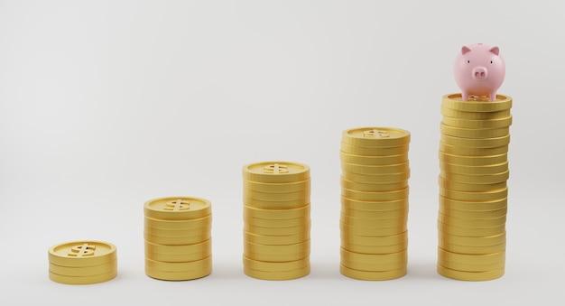 Roze spaarvarken en gouden munten van groeiende grafiek op witte achtergrond. geld besparen en financiële planning concept. 3d-weergave.