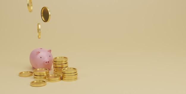 Roze spaarvarken en gouden muntstukkenstapel op geel