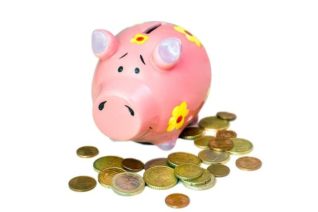 Roze spaarvarken en heel wat euro muntstukken die op wit worden geïsoleerd