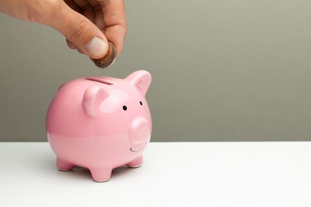 Roze spaarvarken en munt in een mannelijke hand