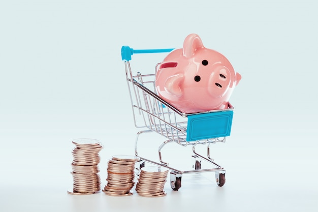 Roze spaarvarken en munten geïsoleerd op wit