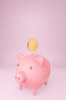 Roze spaarvarken en vele gouden muntstukken toren op pastelkleurenachtergrond. 3d model en illustratie.