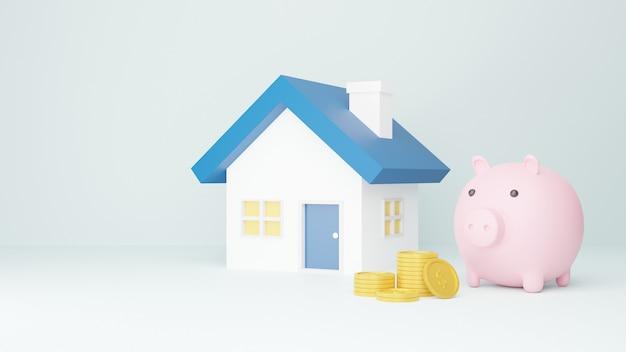 Roze spaarvarken, huis met stapel van munten. geldbesparende concept op wit. 3d rendering illustratie.