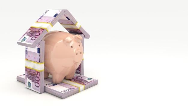 Roze spaarvarken investeringsconcept render 3d