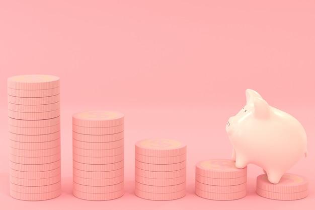 Roze spaarvarken met dollarmuntstukken op roze kleur, die geldconcept met het 3d teruggeven besparen