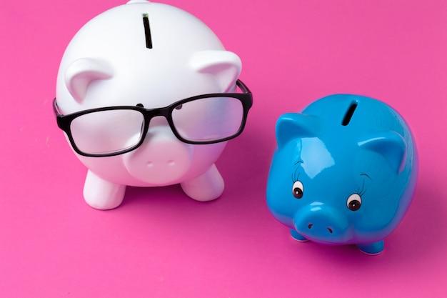 Roze spaarvarken met een bril
