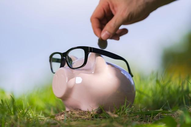 Roze spaarvarken met glazen op gras en hand die een muntstuk aanbrengen