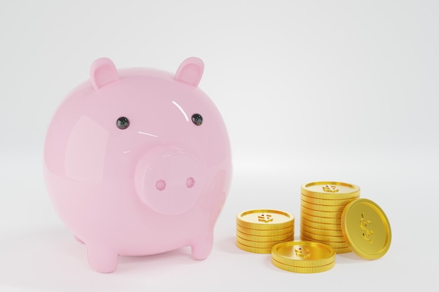 Roze spaarvarken met muntstukkenstapel