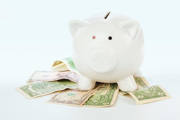 Roze spaarvarken op dollars die op wit worden geïsoleerd