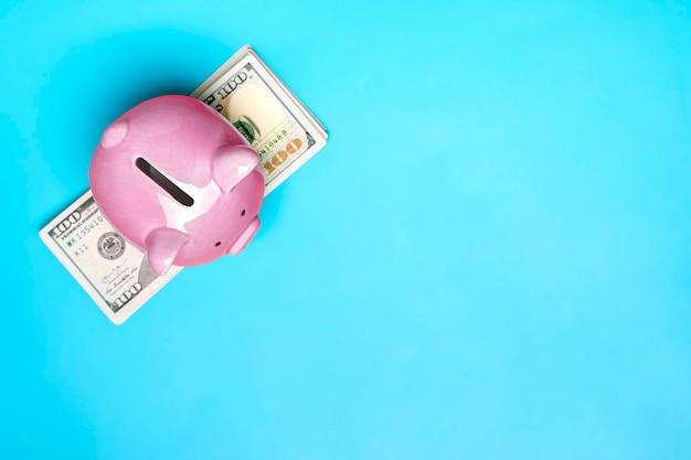 Roze spaarvarken op dollarsbankbiljetachtergrond kopen, verkoop, investeringen, bankwezen, lening, verzekering