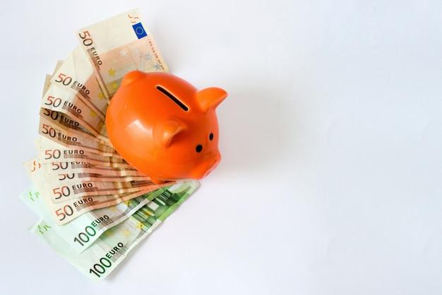 Roze spaarvarken op geld, euro rekeningen