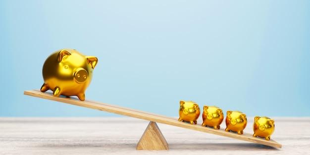 Roze spaarvarkens die op wip 3d illustratie in evenwicht brengen