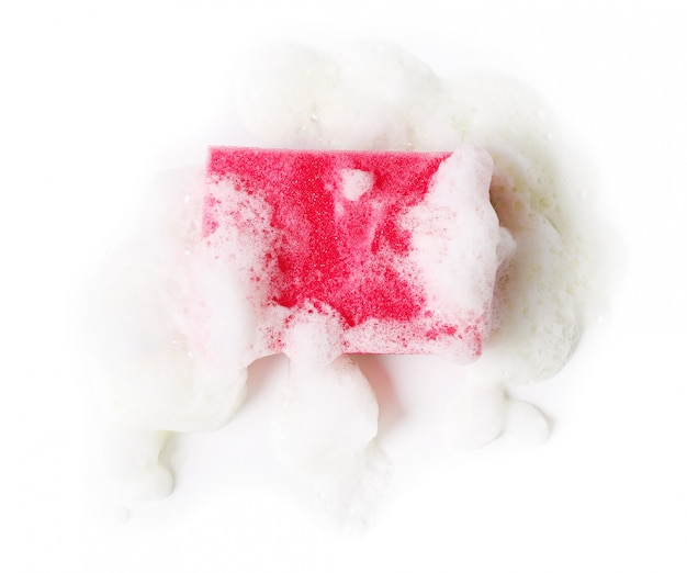 Roze spons met schuim