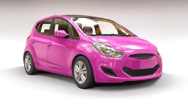 Roze stadsauto met blanco oppervlak voor uw creatieve ontwerp. 3d illustratie.