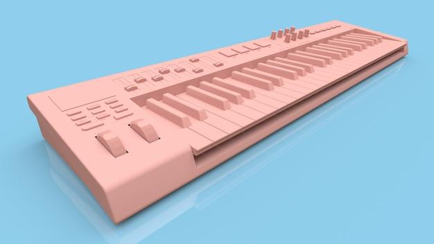 Roze synthesizer midi-toetsenbord