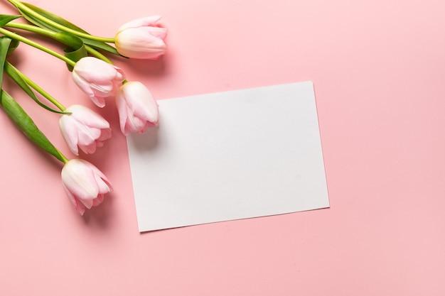 Roze tulpen en lege blanco vellen voor cheers op roze achtergrond.