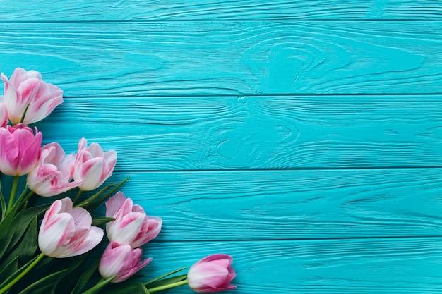 Roze tulpen op een houten blauwe achtergrond. bovenaanzicht en vlak leggen.