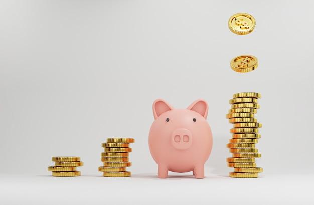 Roze varkentje onder verhogingsmunten die stapelen met gouden munten die vallen voor creatief financieel sparen en storten met kopieerruimte, 3d render.