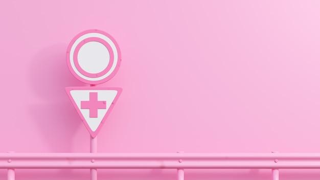 Roze verkeersborden met vrouwelijke symbolen.