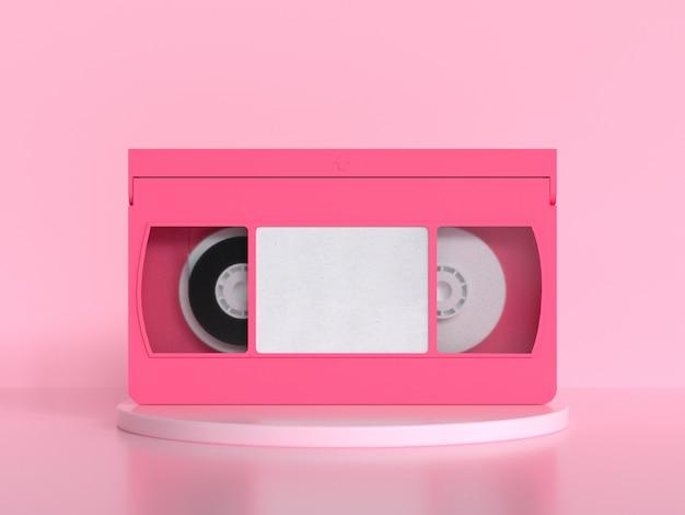 Roze videoband cassette 3d-rendering minimale stijl