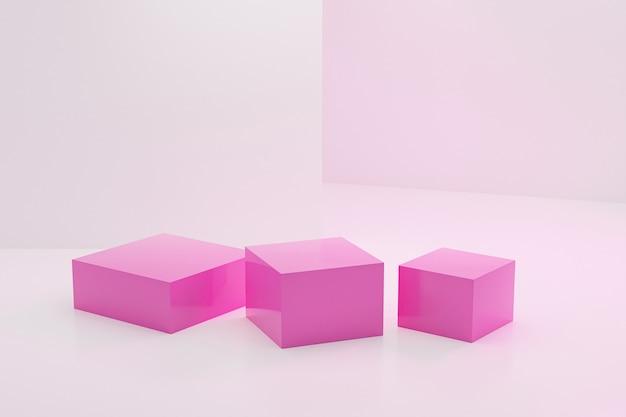 Roze vierkant gevormd podium of voetstuk voor producten op witte achtergrond, minimale 3d illustratie geeft terug