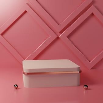 Roze vierkant podium met minimalistische vorm op een roze kamer