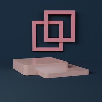 Roze vierkant podium met minimalistische vormen op een donkerblauwe muur