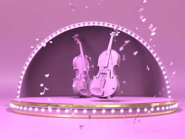 Roze viool op estrada stadiumconcept. 3d-afbeelding