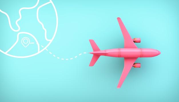 Roze vliegtuig met een route 3d-rendering