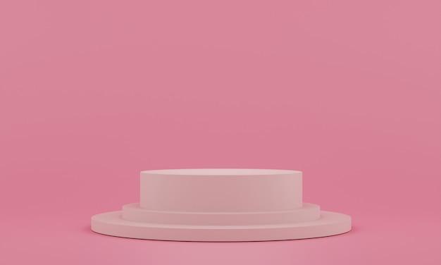 Roze voetstuk voor weergave. lege productstandaard met geometrische vorm. 3d render.