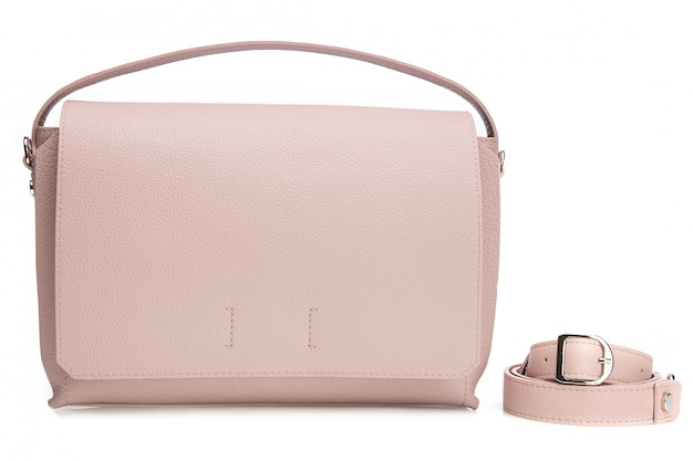 Roze vrouw portemonnee met riem op witte muur