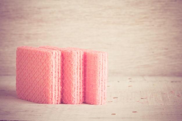 Roze wafels met filtereffect retro vintage stijl