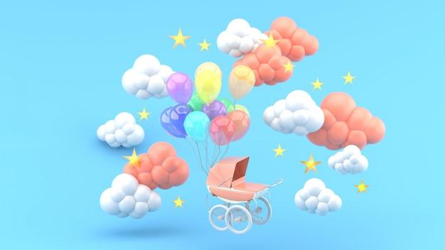 Roze wandelwagen en zwevende ballonnen omgeven door wolken en sterren op blauw. 3d render