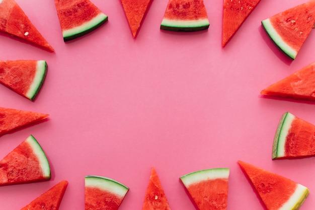 Roze watermeloenachtergrond met copyspace