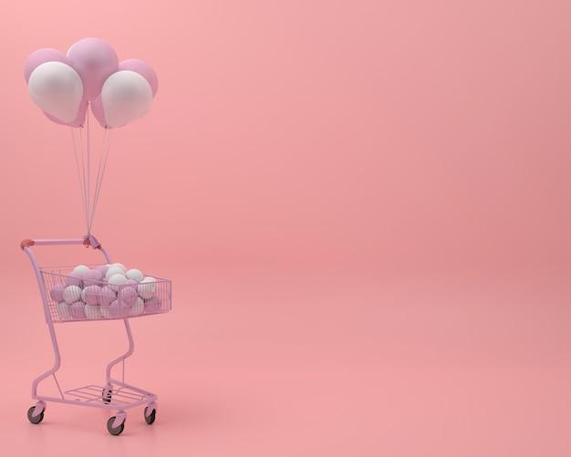Roze winkelwagentje met ballon en bal in roze pastel achtergrond