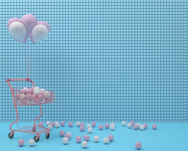 Roze winkelwagentje met ballon en bal op blauwe pastel achtergrond