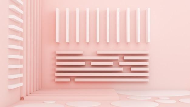 Roze witte lichte achtergrond, studio en voetstuk. 3d illustratie, 3d-rendering.