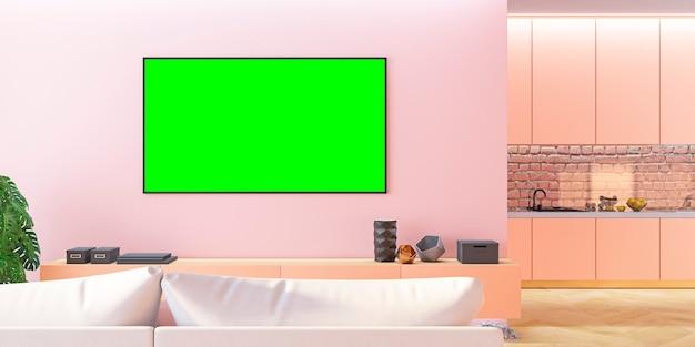 Roze woonkamer-tv met bank, keuken, console. 3d render illustratie.