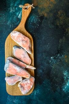 Roze zalm bevroren rauwe vis zeevruchten dieet pescetarian