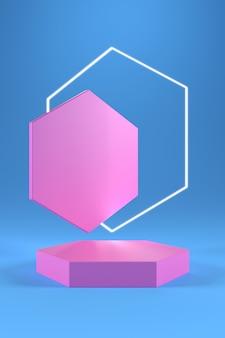 Roze zeshoekig podium en witte zeshoekige ring op blauwe achtergrond met kleurovergang.