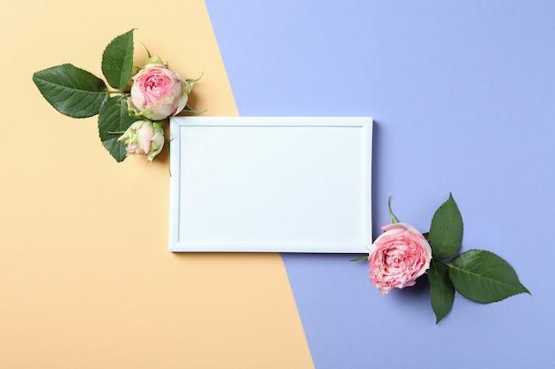 Rozen en leeg frame op tweekleurige achtergrond