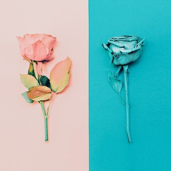 Rozen schilderen. minimalisme mode kunst.