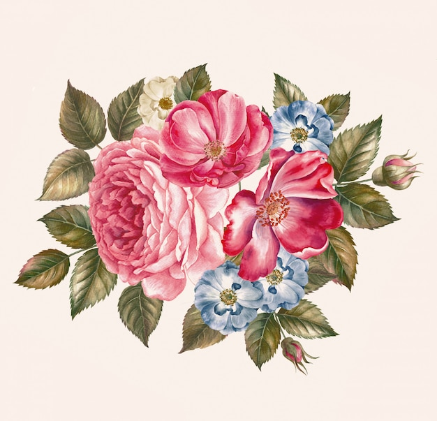 Rozenstruik. patroon van roze roos. bruiloft tekeningen. aquarel schilderij. wenskaarten.